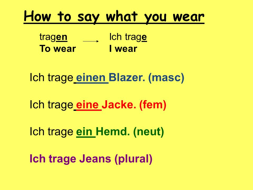 How to say what you wear Ich trage einen Blazer. (masc)