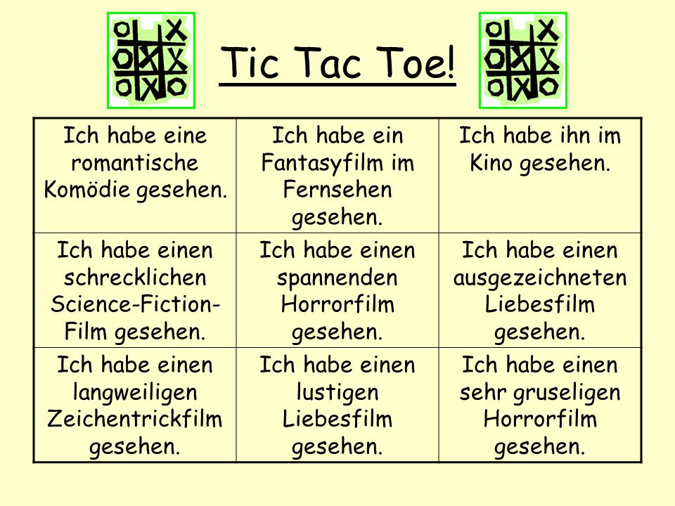 Tic Tac Toe! Ich habe eine romantische Komödie gesehen.
