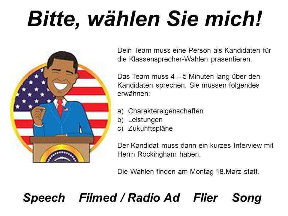 Bitte, wählen Sie mich! Speech Filmed / Radio Ad Flier Song
