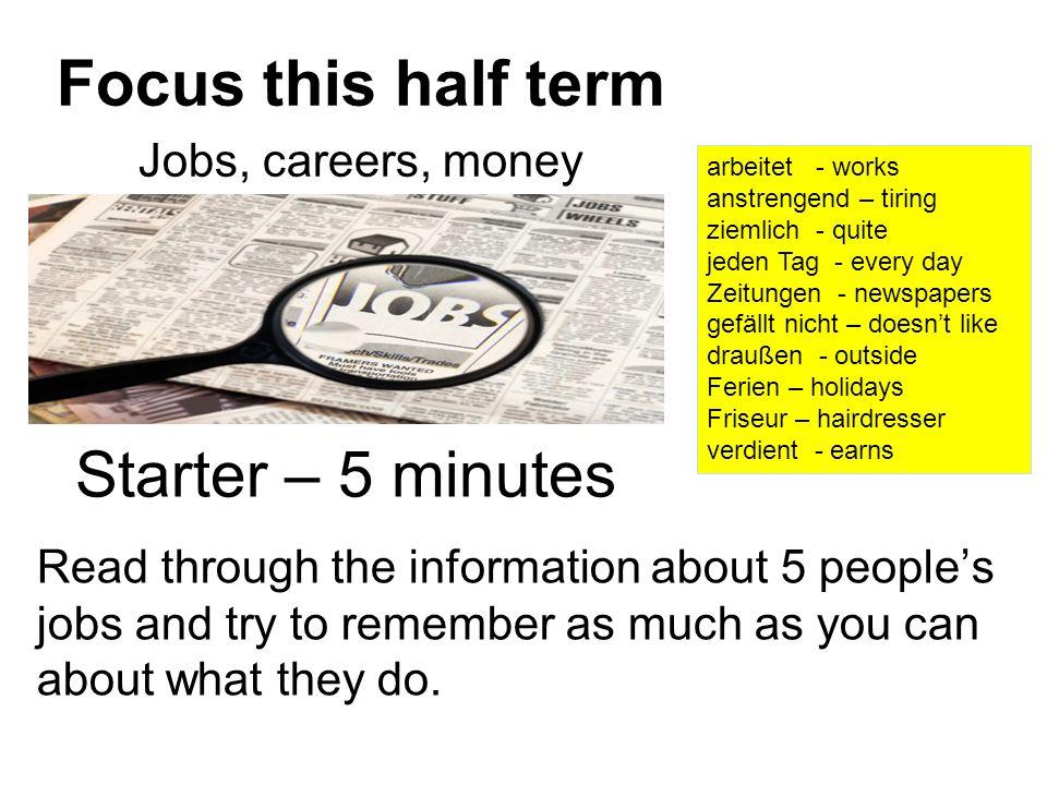 Focus this half term Starter – 5 minutes Jobs, careers, money