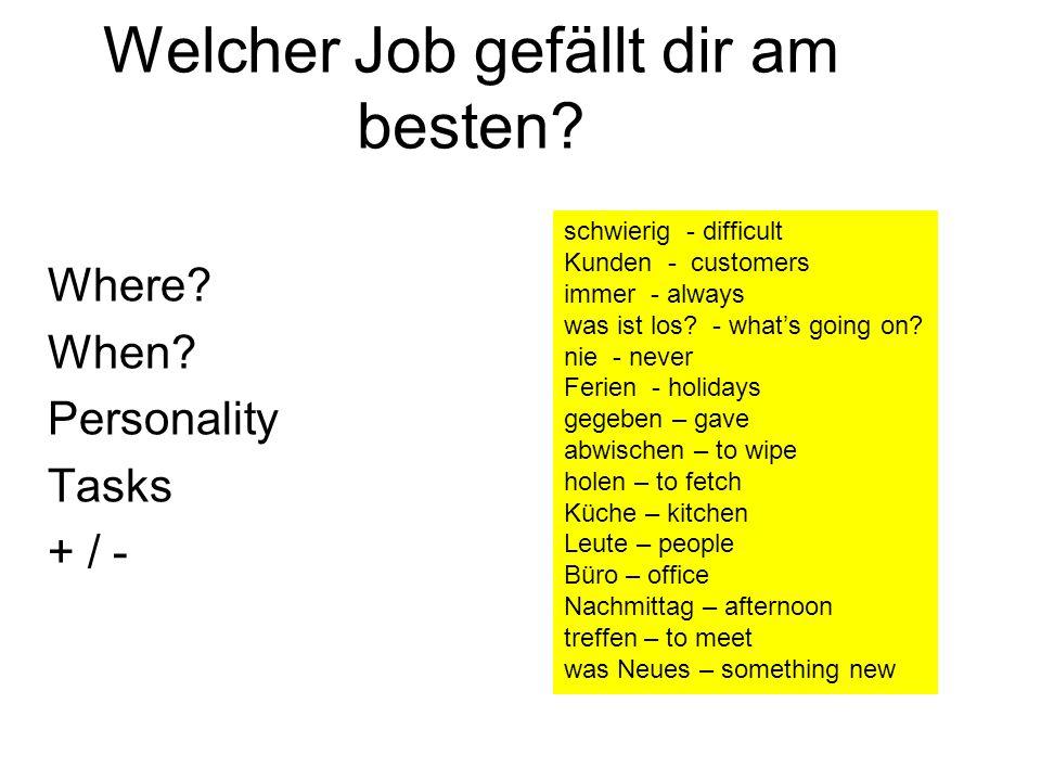Welcher Job gefällt dir am besten