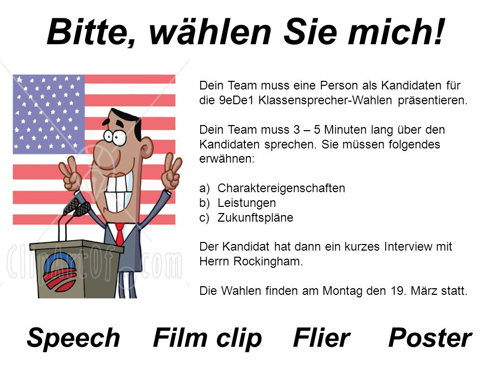 Bitte, wählen Sie mich! Speech Film clip Flier Poster