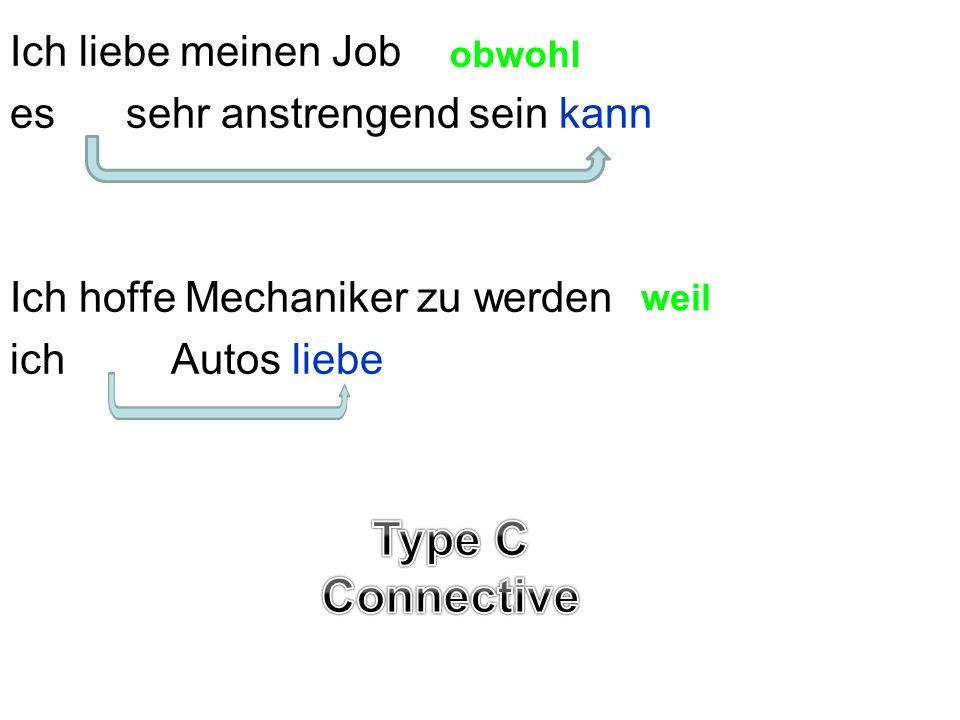 Ich liebe meinen Job es sehr anstrengend sein kann Ich hoffe Mechaniker zu werden ich Autos liebe