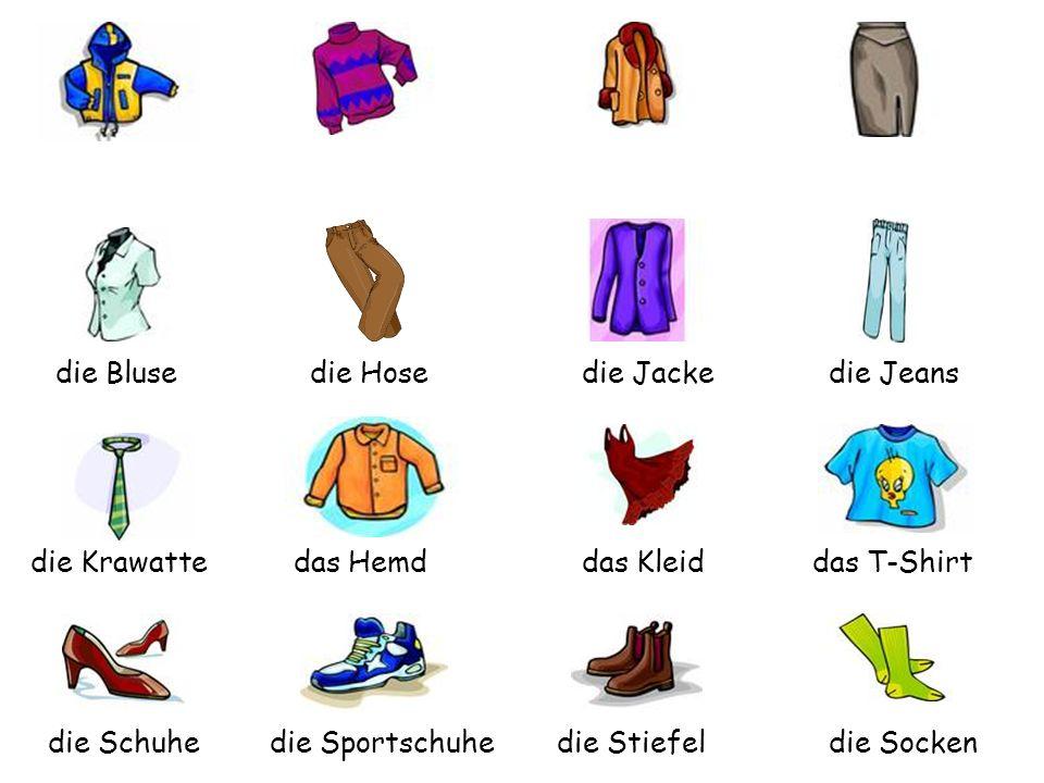 die Blusedie Hose. die Jacke. die Jeans. die Krawatte. das Hemd. das Kleid. das T-Shirt. die Schuhe.