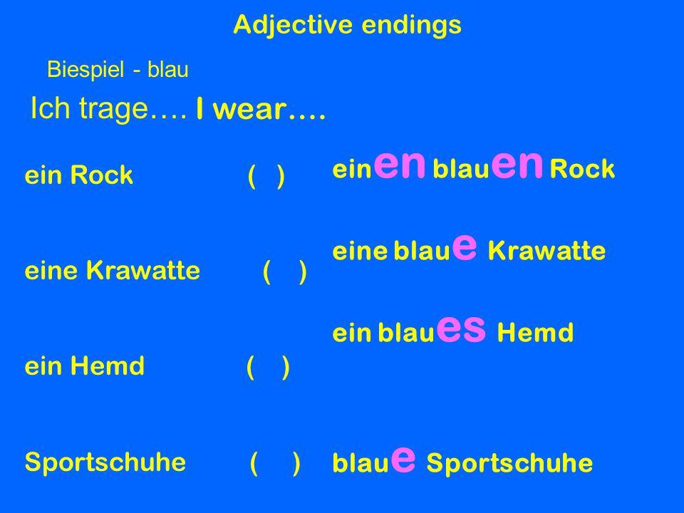 Ich trage…. I wear…. Adjective endings einen blauen Rock ein Rock ( )