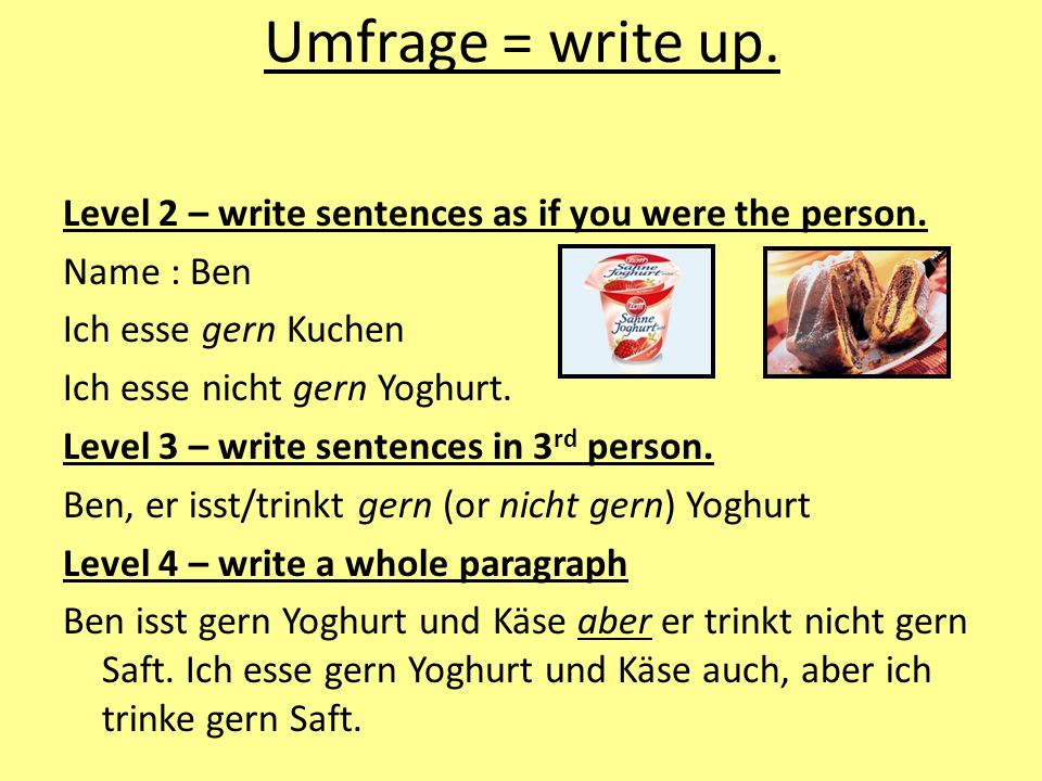 Umfrage = write up.