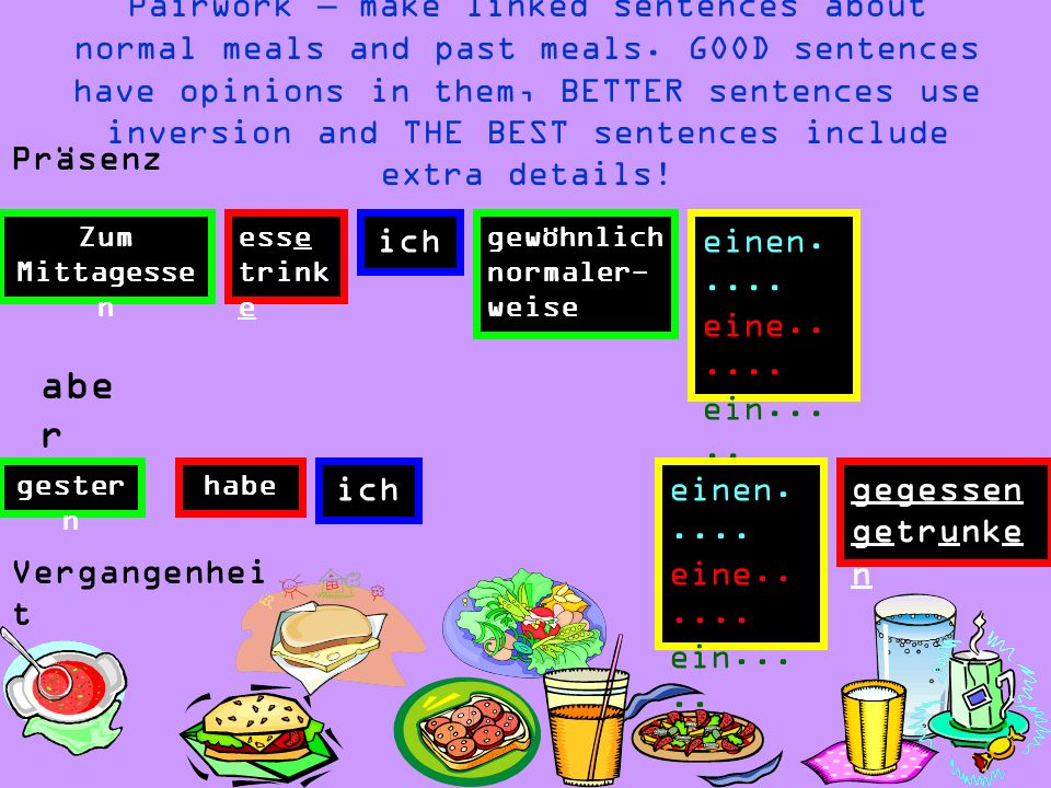 Pairwork – make linked sentences about normal meals and past meals