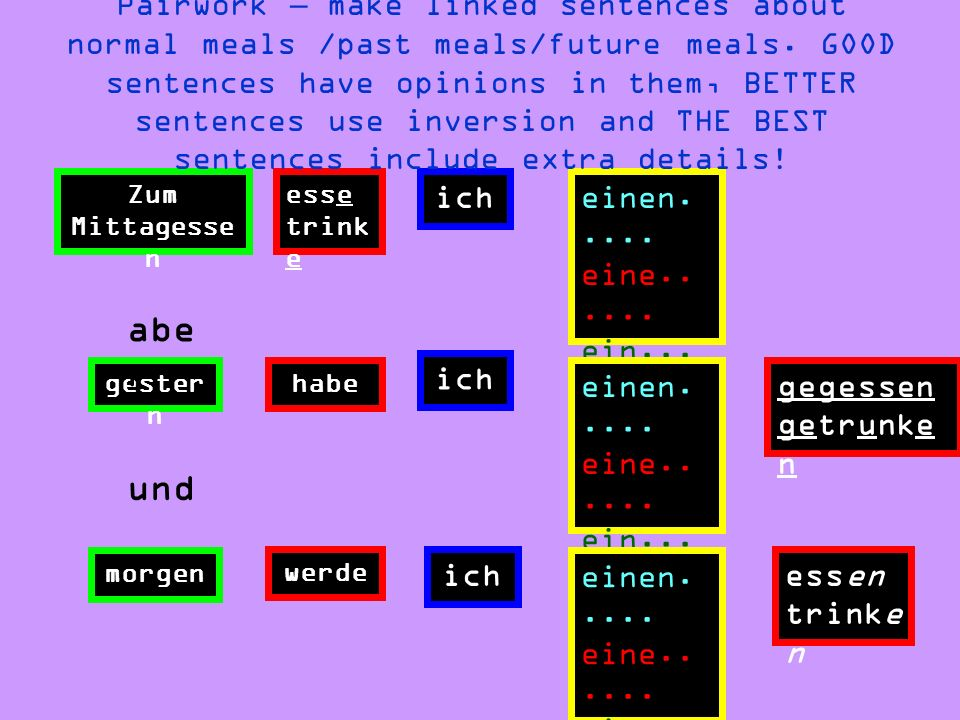 Pairwork – make linked sentences about normal meals /past meals/future meals. GOOD sentences have opinions in them, BETTER sentences use inversion and THE BEST sentences include extra details!