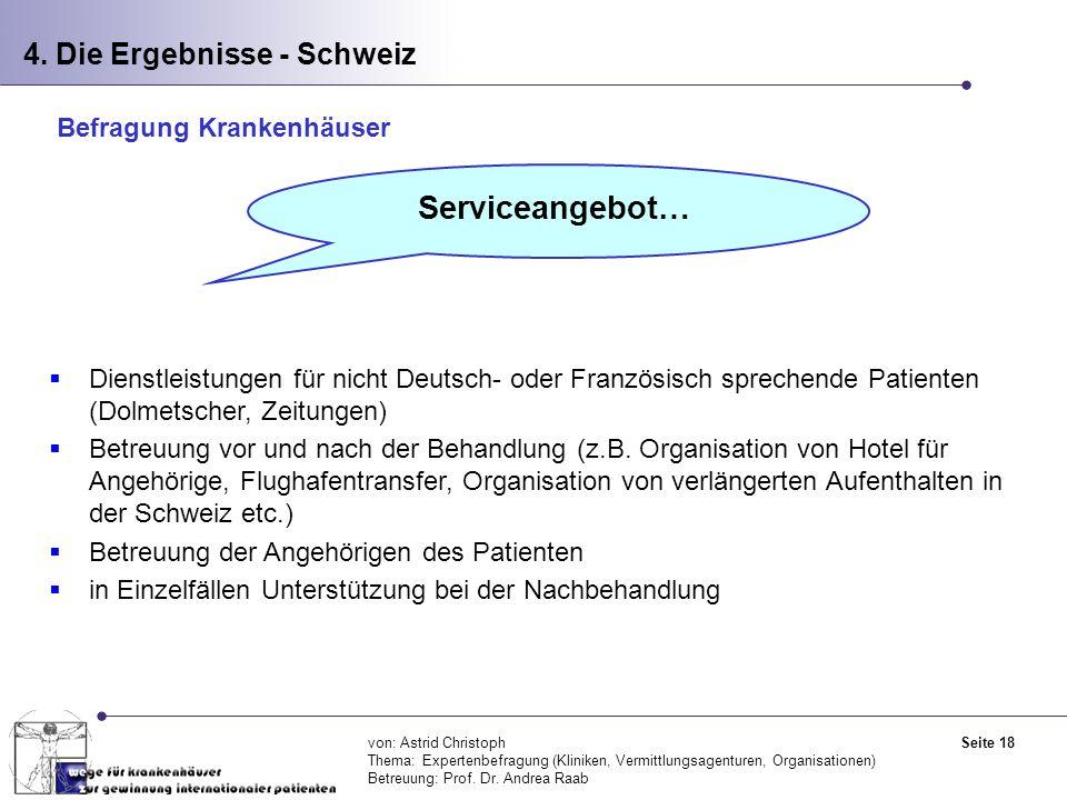Serviceangebot… 4. Die Ergebnisse - Schweiz Befragung Krankenhäuser