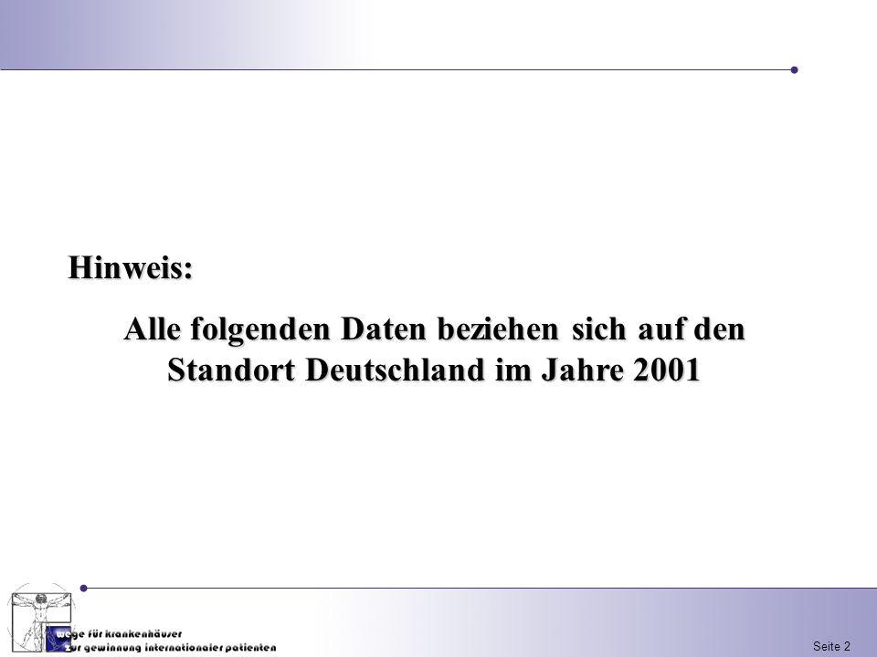 Hinweis: Alle folgenden Daten beziehen sich auf den Standort Deutschland im Jahre 2001