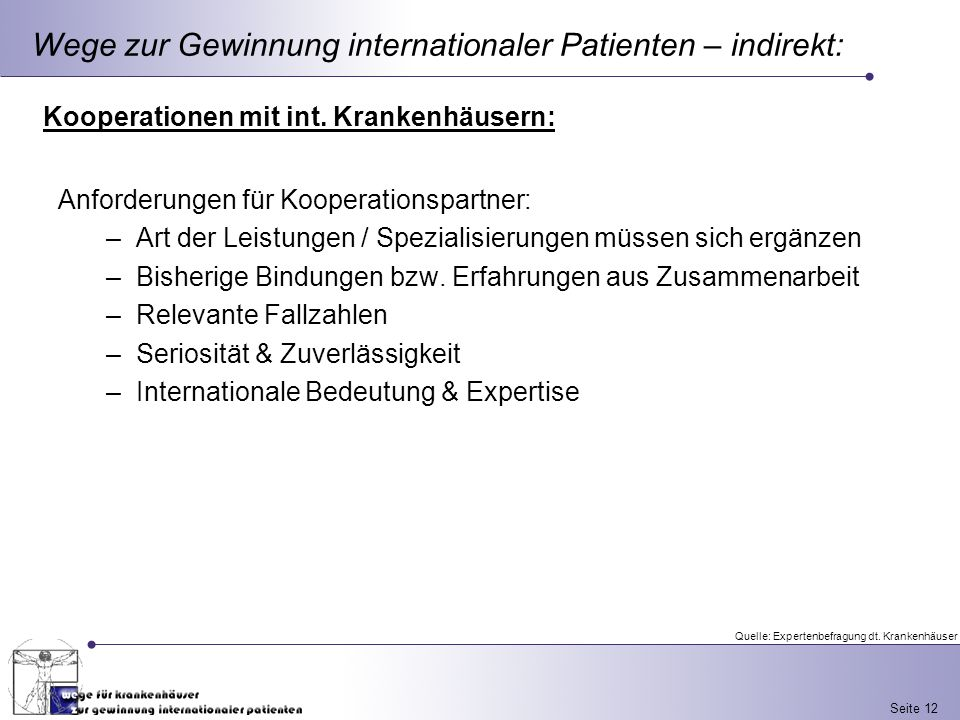 Wege zur Gewinnung internationaler Patienten – indirekt: