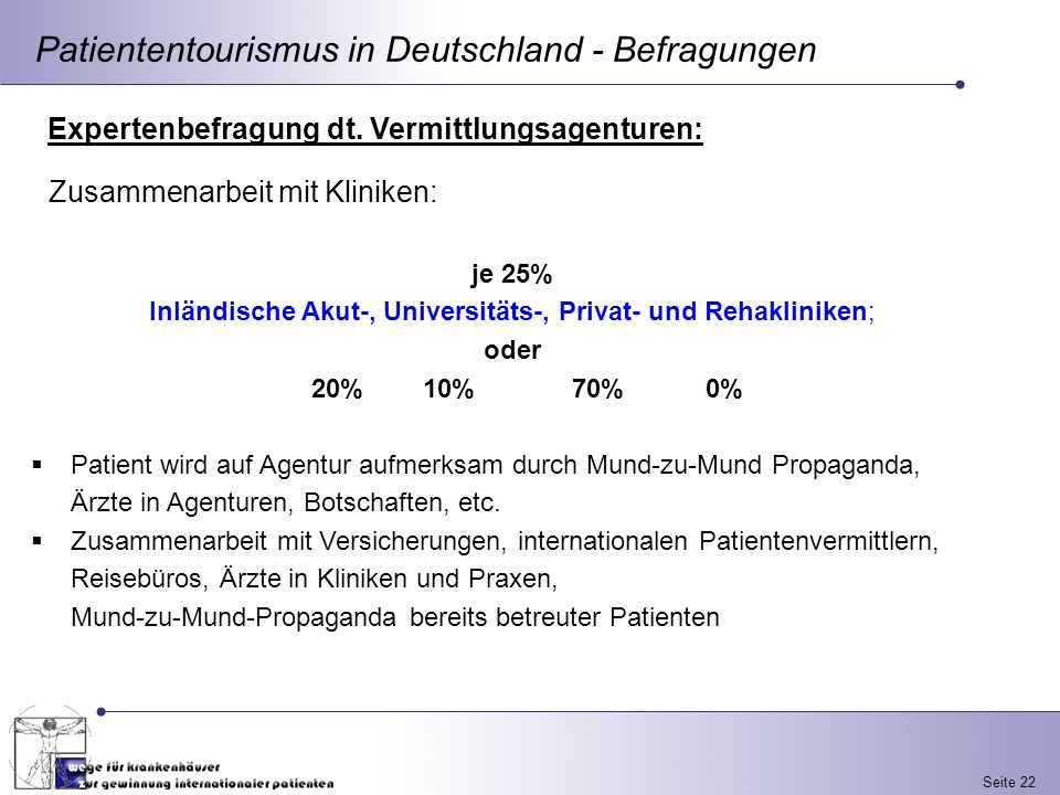 Inländische Akut-, Universitäts-, Privat- und Rehakliniken;