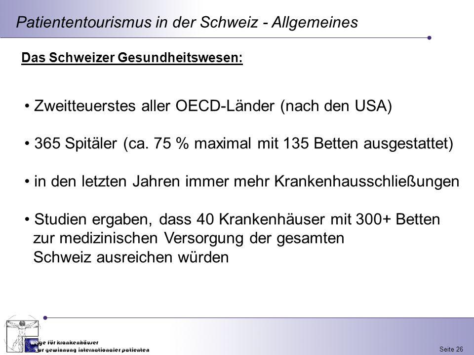 Patiententourismus in der Schweiz - Allgemeines