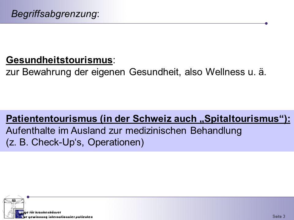 Begriffsabgrenzung: Gesundheitstourismus: zur Bewahrung der eigenen Gesundheit, also Wellness u. ä.