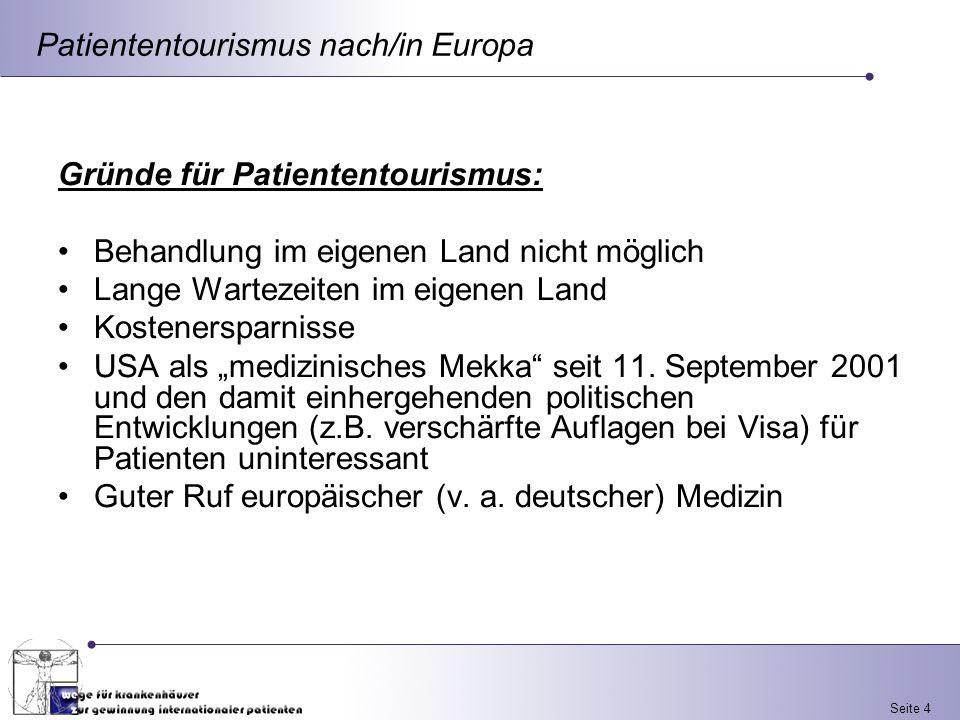 Patiententourismus nach/in Europa