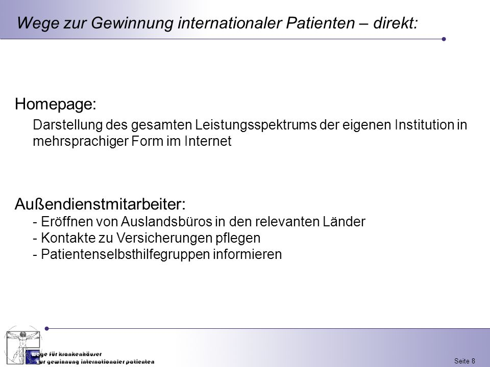 Wege zur Gewinnung internationaler Patienten – direkt: