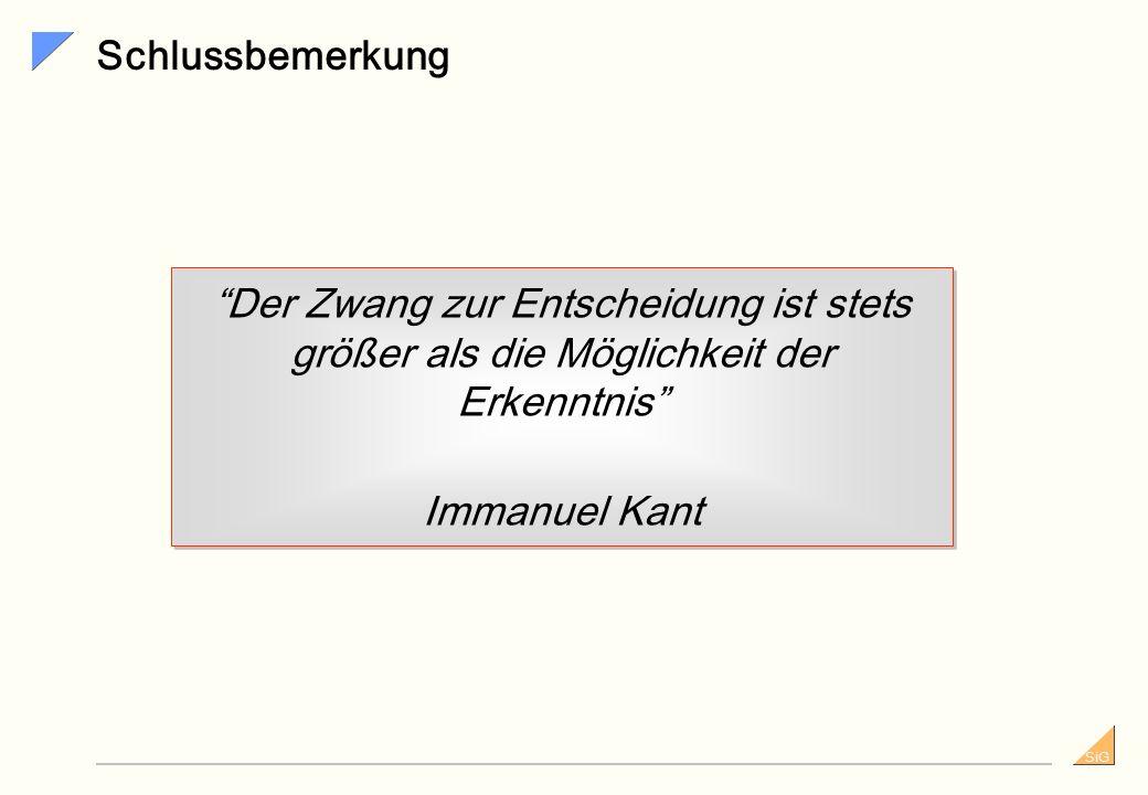 Schlussbemerkung Der Zwang zur Entscheidung ist stets größer als die Möglichkeit der Erkenntnis Immanuel Kant.