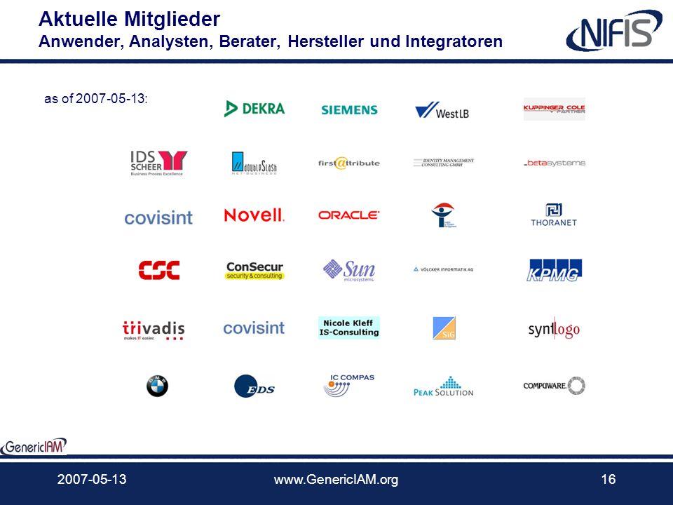 Aktuelle Mitglieder Anwender, Analysten, Berater, Hersteller und Integratoren