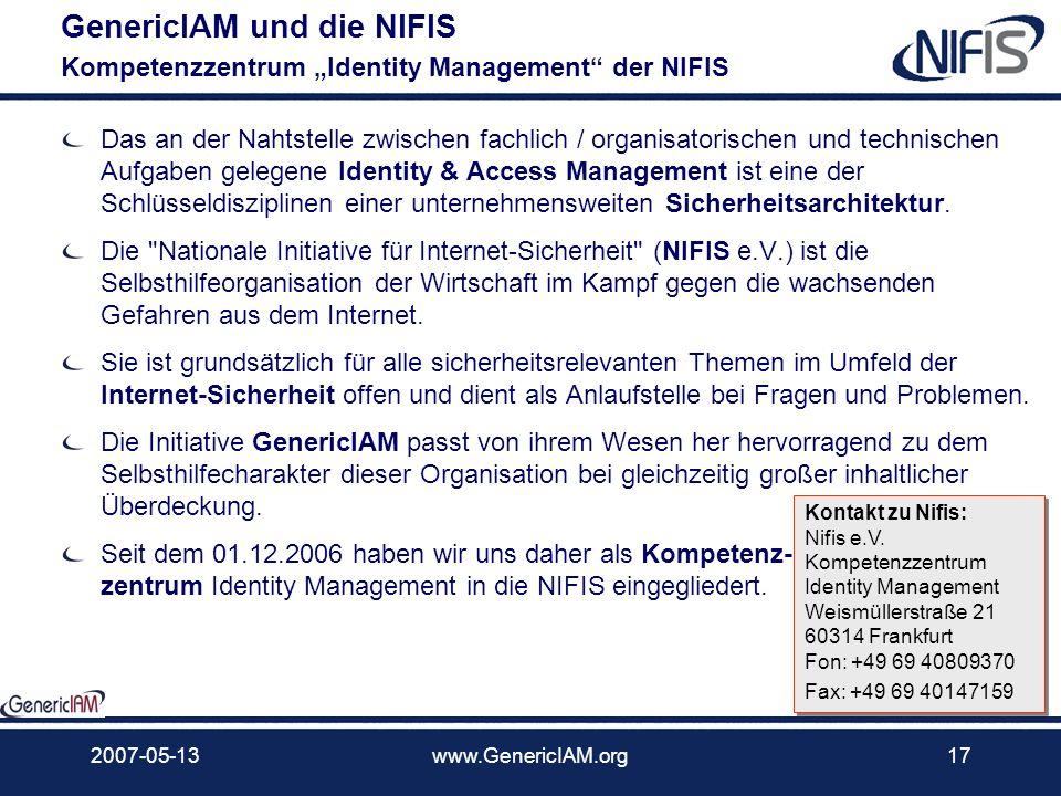 """GenericIAM und die NIFIS Kompetenzzentrum """"Identity Management der NIFIS"""