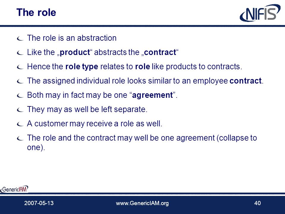 The role The role is an abstraction