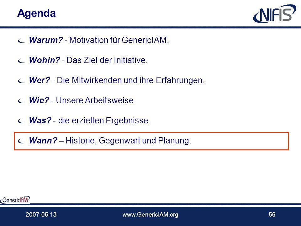 Agenda Warum - Motivation für GenericIAM.