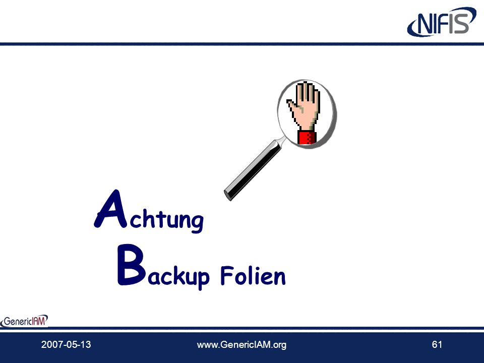 Achtung Backup Folien 2007-05-13 www.GenericIAM.org