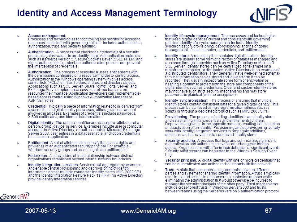 Identity and Access Management Terminology