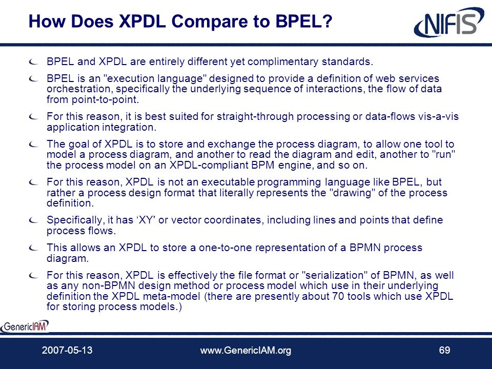How Does XPDL Compare to BPEL