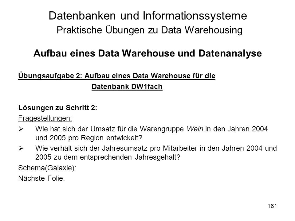 Aufbau eines Data Warehouse und Datenanalyse