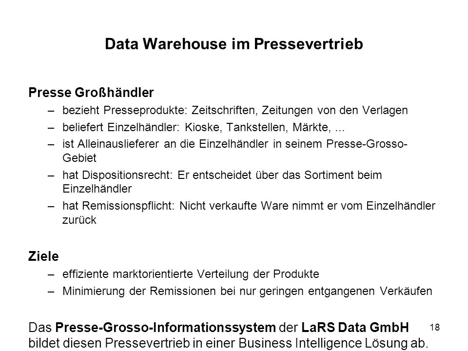 Data Warehouse im Pressevertrieb