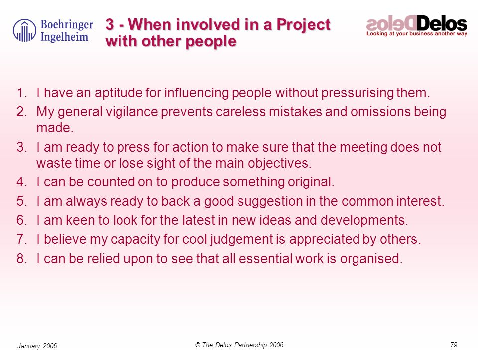 3 - When involved in a Project with other people