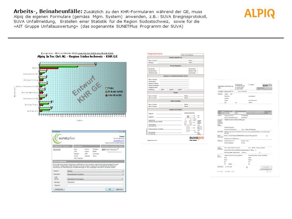 Arbeits-, Beinaheunfälle: Zusätzlich zu den KHR-Formularen während der GE, muss Alpiq die eigenen Formulare (gemäss Mgm. System) anwenden, z.B.: SUVA Ereignisprotokoll, SUVA Unfallmeldung, Erstellen einer Statistik für die Region Südostschweiz, sowie für die «AIT Gruppe Unfallauswertung» (das sogenannte SUNETPlus Programm der SUVA)