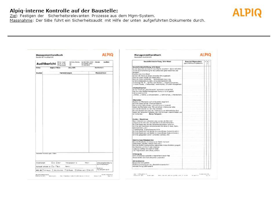 Alpiq-interne Kontrolle auf der Baustelle: Ziel: Festigen der Sicherheitsrelevanten Prozesse aus dem Mgm-System.