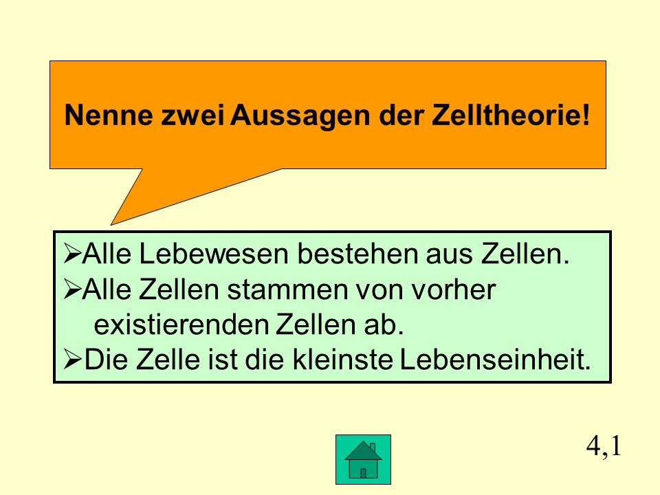 Nenne zwei Aussagen der Zelltheorie!