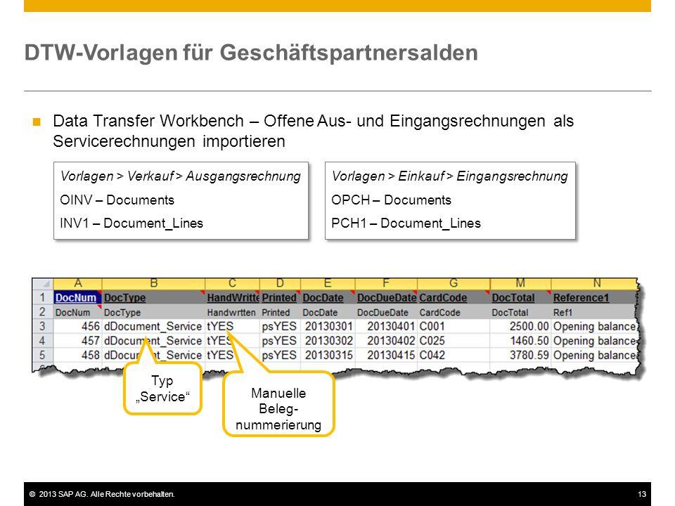 DTW-Vorlagen für Geschäftspartnersalden