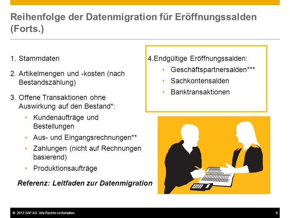 Reihenfolge der Datenmigration für Eröffnungssalden (Forts.)