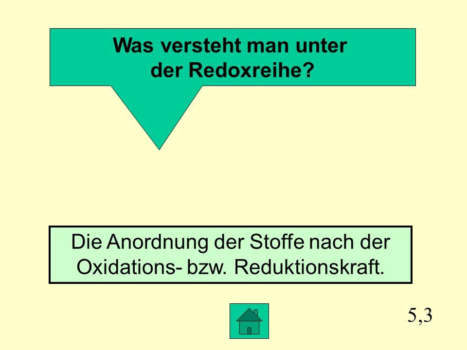 Die Anordnung der Stoffe nach der Oxidations- bzw. Reduktionskraft.