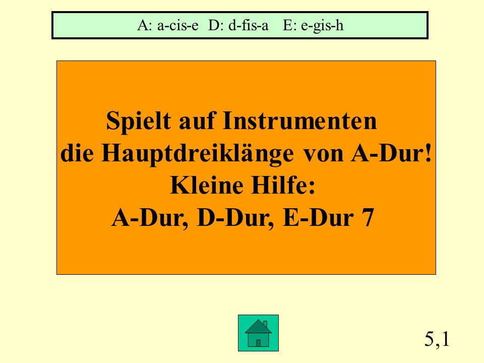 Spielt auf Instrumenten die Hauptdreiklänge von A-Dur!