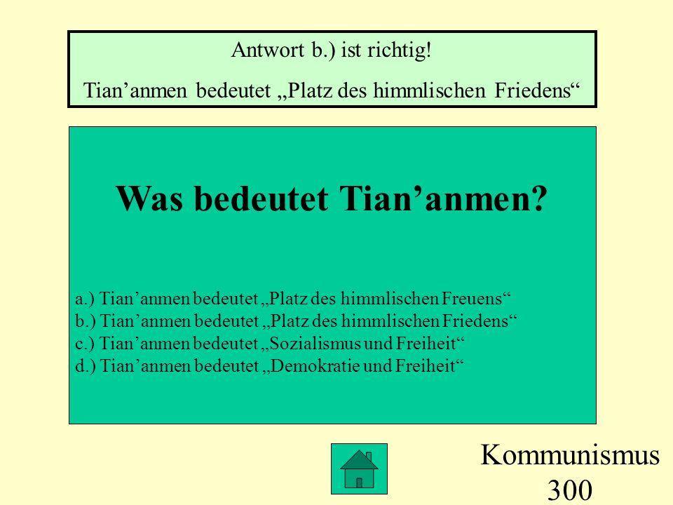Was bedeutet Tian'anmen