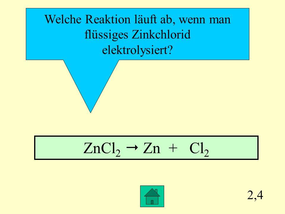 ZnCl2  Zn + Cl2 Welche Reaktion läuft ab, wenn man