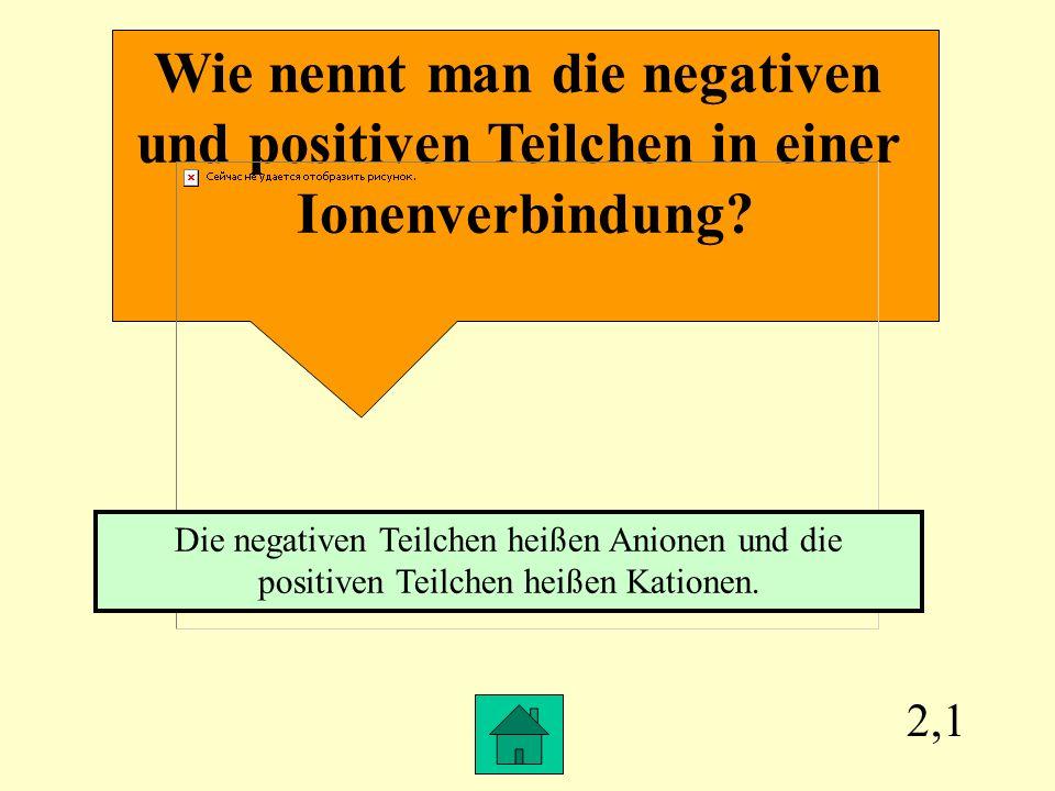 Wie nennt man die negativen und positiven Teilchen in einer