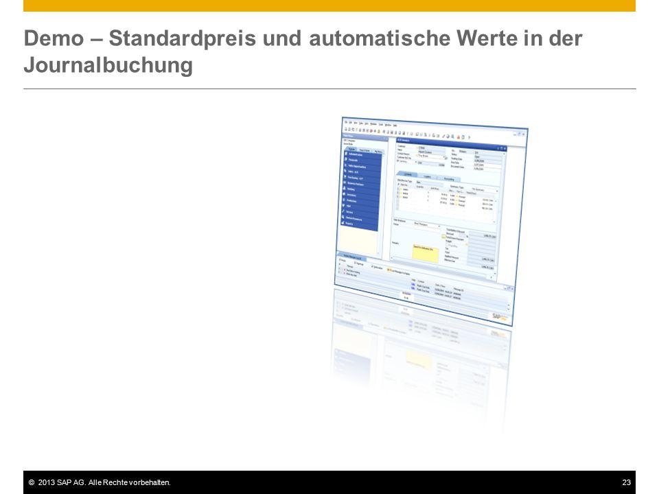 Demo – Standardpreis und automatische Werte in der Journalbuchung