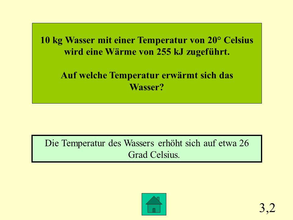 3,2 10 kg Wasser mit einer Temperatur von 20° Celsius