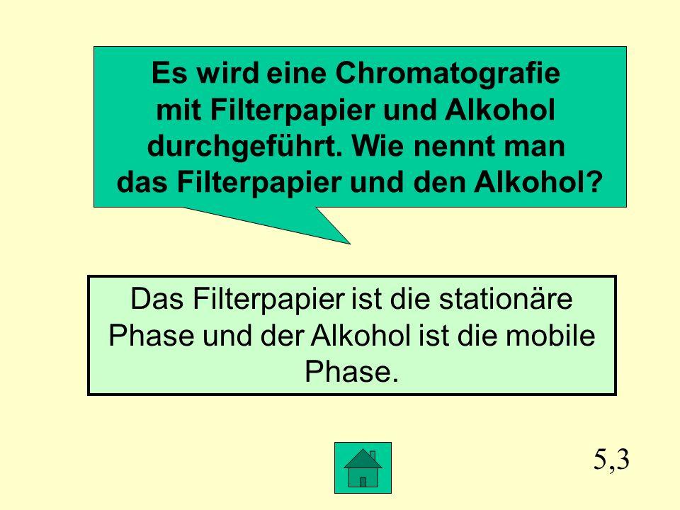 Es wird eine Chromatografie mit Filterpapier und Alkohol