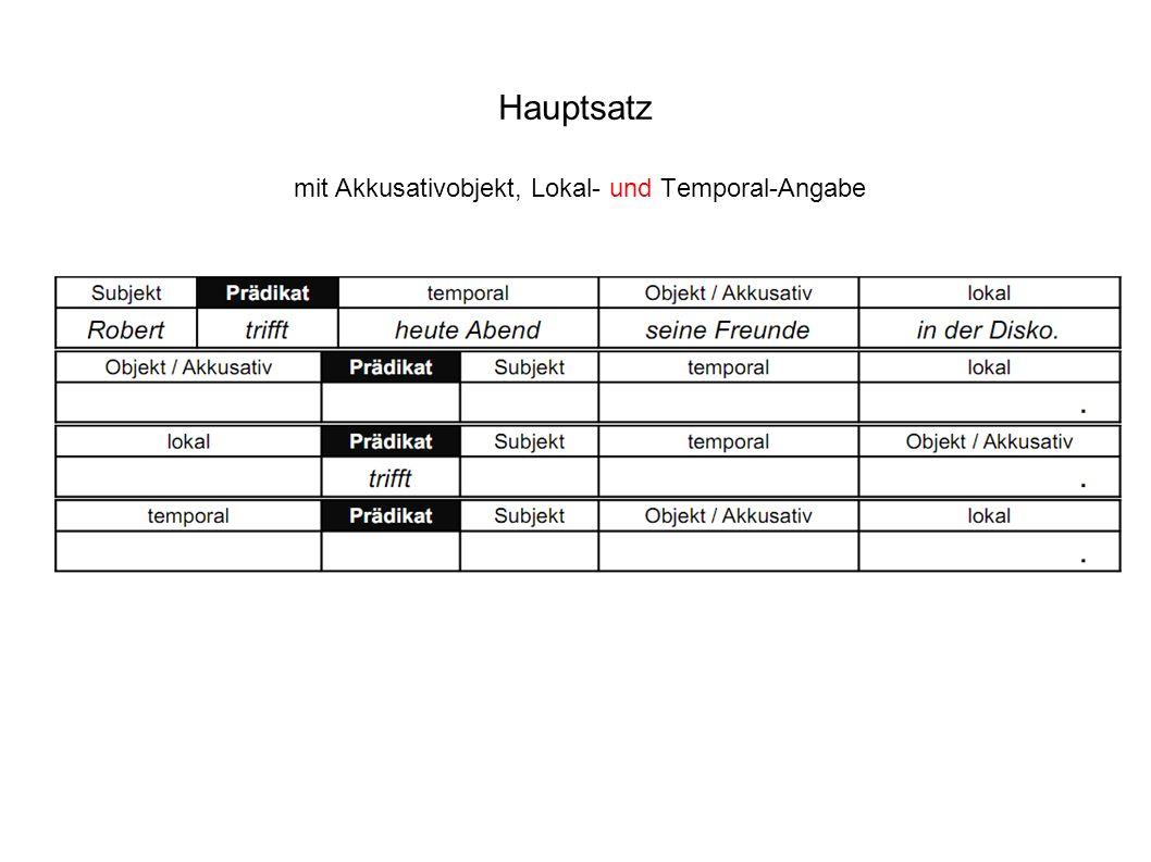 Hauptsatz mit Akkusativobjekt, Lokal- und Temporal-Angabe
