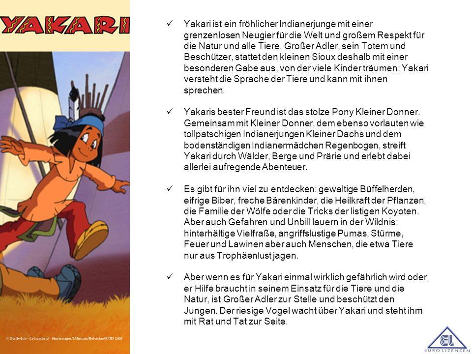 Yakari ist ein fröhlicher Indianerjunge mit einer grenzenlosen Neugier für die Welt und großem Respekt für die Natur und alle Tiere. Großer Adler, sein Totem und Beschützer, stattet den kleinen Sioux deshalb mit einer besonderen Gabe aus, von der viele Kinder träumen: Yakari versteht die Sprache der Tiere und kann mit ihnen sprechen.