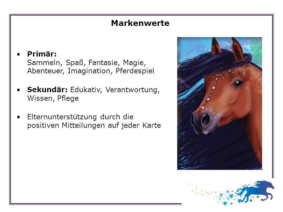 MarkenwertePrimär: Sammeln, Spaß, Fantasie, Magie, Abenteuer, Imagination, Pferdespiel. Sekundär: Edukativ, Verantwortung, Wissen, Pflege.