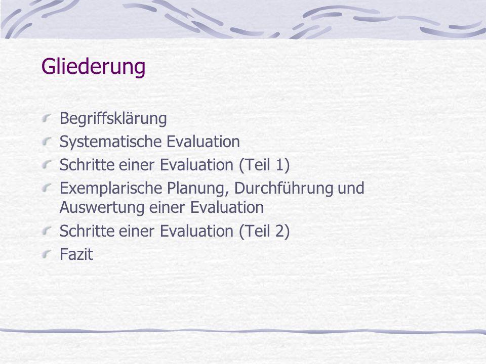 Gliederung Begriffsklärung Systematische Evaluation