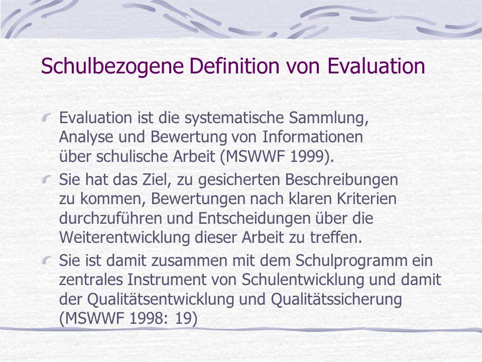 Schulbezogene Definition von Evaluation