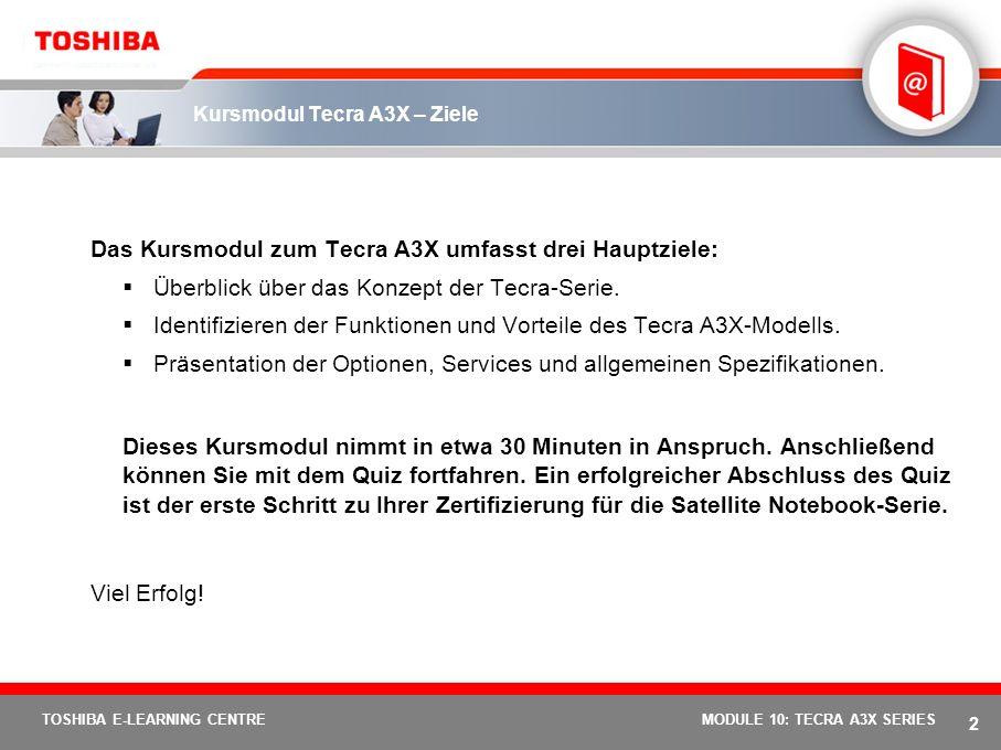 Kursmodul Tecra A3X – Ziele